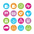 Shopping icons set of in colorful buttons Royalty Free Stock Photo