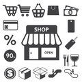 Shopping icons set illustration eps Stock Images