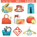 Shopping icons set isolated on white background Stock Image