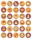 Shopping icons set of modern flat in circles Royalty Free Stock Image