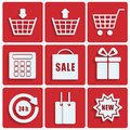 Shopping icons set of for online shop Royalty Free Stock Photo