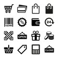 Shopping icons set pictogram supermarket services Stock Photography