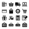 Shopping icons set pictogram supermarket services Royalty Free Stock Photo