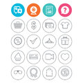 Shopping icons. Shirt, gift box and currency. Royalty Free Stock Photo