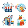 Shopping icons of a store shopping and delivery Royalty Free Stock Photo