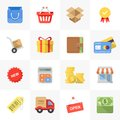 Shopping icons vector set of modern flat and colorful Royalty Free Stock Photo