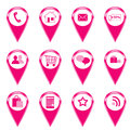 Shopping icons for the web or makers for maps Royalty Free Stock Images