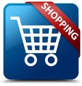 Shopping blue square button red ribbon in corner Royalty Free Stock Photo