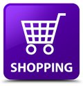 Shopping purple square button Royalty Free Stock Photo