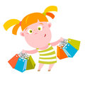 Shopping kid vector illustration of a little girl Royalty Free Stock Image