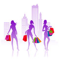 Shopping ladies vector illustration of with bags for Royalty Free Stock Photography