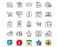Shopping line icons. Gifts, Wallet and Sale.