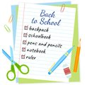 Shopping list back to school vector design. Royalty Free Stock Photo