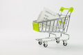 Shopping list close up of inside cart on white background Royalty Free Stock Photography