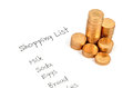 Shopping list and coin Royalty Free Stock Photos