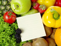 Shopping list on fruits and vegetable Royalty Free Stock Photo