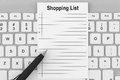 Shopping List with Keyboard Royalty Free Stock Image