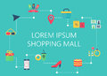 Shopping mall map concept vector. Interactive navigation icons infographic.