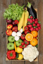 Shopping at market fruits and vegetables in box from above Royalty Free Stock Photo