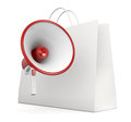 Shopping offer one loudhailer with a bag d render Royalty Free Stock Image