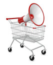 Shopping offer one loudhailer with a cart d render Royalty Free Stock Photos