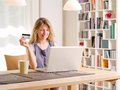 Shopping online with a credit card Royalty Free Stock Photo