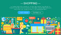 Shopping Online and E-Commerce Shopping concept. Online e commerce infographics template design, web header shopping Royalty Free Stock Photo
