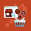 Shopping online flat design background about e commerce concept Royalty Free Stock Images