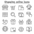Shopping online , Internet shopping icon set in thin line style Royalty Free Stock Photo