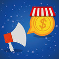 shopping online megaphone marketing coin star blue background Royalty Free Stock Photo