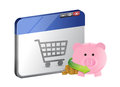 Shopping with online savings Royalty Free Stock Photo