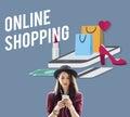 Shopping Online Shopaholics E-Commerce E-Shopping Concept Royalty Free Stock Photo