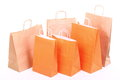 Shopping ORANGE gift bags isolated Royalty Free Stock Photo