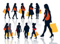 Shopping people collection of nice silhouettes of Royalty Free Stock Image
