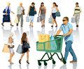 Shopping people set of silhouettes happy holding bags with products eps Stock Image