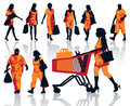 Shopping people set of silhouettes happy holding bags with products eps Royalty Free Stock Image