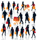 Shopping people set of silhouettes happy holding bags with products eps Royalty Free Stock Photo