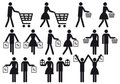 Shopping people, vector icon set Royalty Free Stock Image