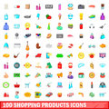 100 shopping products icons set, cartoon style