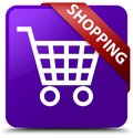 Shopping purple square button red ribbon in corner Royalty Free Stock Photo