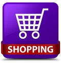 Shopping purple square button red ribbon in middle Royalty Free Stock Photo