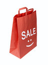 Shopping red bag for sale on withe Royalty Free Stock Photography