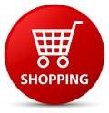 Shopping red round button Royalty Free Stock Photo