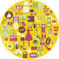 Shopping related icons illustrations made in circle shape women clothing and shoes Royalty Free Stock Photos