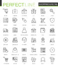 Shopping and retail thin line web icons set. Online shopping Outline stroke icons design.