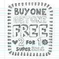 Shopping Sale Back to School Doodles Vector Design Royalty Free Stock Image