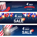 Shopping Sale To United States Independence Day Holiday 4 July Discount Banner Set Royalty Free Stock Photo