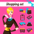 Shopping set infographics of fashion women Stock Images