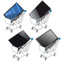 Shopping Shopping cart with flat screen TV Stock Photography