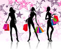 Shopping silhouette ladies Royalty Free Stock Photo